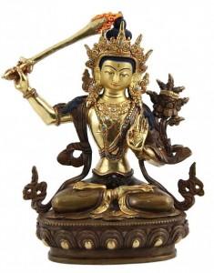Vergoldete Manjushri Statue, 21,5 cm