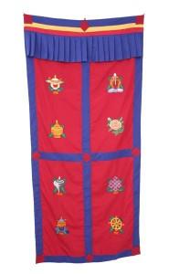 Tibetischer Türbehang, Eight Lucky Symbols, rot 01