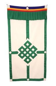 Tibetischer Türbehang, Endloser Knoten, Leinen, grün