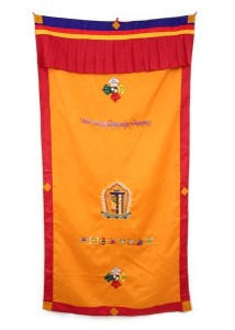 Tibetischer Türbehang, verschiedene Symbole, ocker