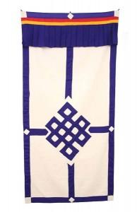 Tibetischer Türbehang, Endloser Knoten, Leinen, blau