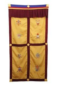 Tibetischer Türbehang, Eight Lucky Symbols, ocker