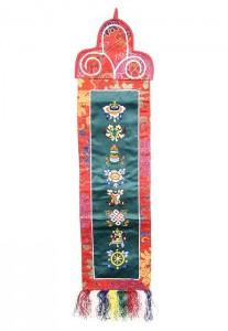 Eight Lucky Symbols Wandbehang, mittel, längs, grün