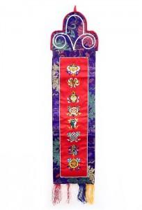 Eight Lucky Symbols Wandbehang, mittel, längs, rot