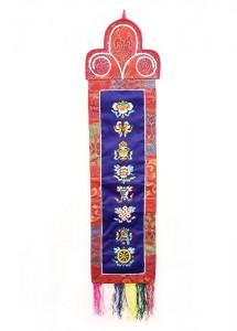 Eight Lucky Symbols Wandbehang, mittel, längs, blau