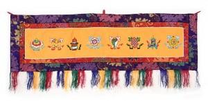 Eight Lucky Symbols Wandbehang, gross, quer, orange
