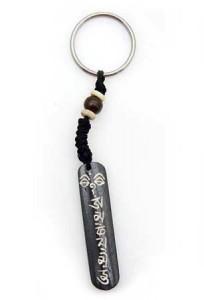 Schlüsselanhänger, Yak-Horn, Om Mani Padme Hum 2