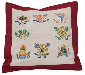 Kissenbezug, Glückssymbole, rot, Nepal