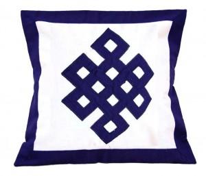 Kissenbezug, Endloser Knoten, blau, Nepal