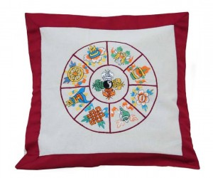 Kissenbezug, Glückssymbole, Vishvavajra, rot, Nepal