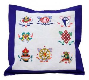 Kissenbezug, Glückssymbole 02, blau, Nepal