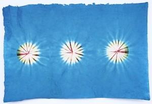 Lokta Papier-Bogen, Batikdruck, blau