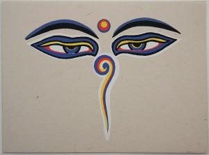"""Grußkarte, """"Allsehende Augen"""" Buddhas"""