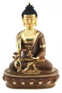 Vergoldete Medizin-Buddha-Statue, 33,5 cm, Nepal