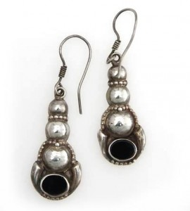 Silber-Ohrringe mit Onyx