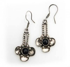 Silber-Ohrringe mit schwarzem Onyx