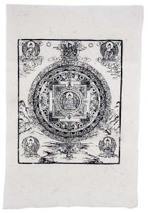 Lokta-Papier-Bogen, Druck, Mandala 1