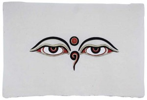 Lokta-Papier-Bogen, Druck, Allsehende Augen Buddhas 3