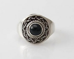 Ring Sterlingsilber (925) mit Black Star aus Nepal, Innendurchmesser 19 mm
