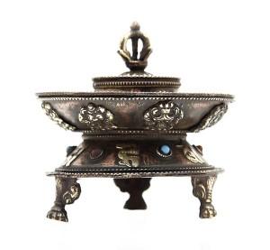 Runder Räucherstäbchenhalter, Om Mani, Glückssymbole 01, Nepal