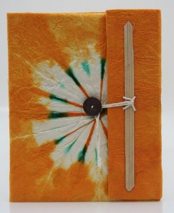 Tagebuch, Batik, orange, groß