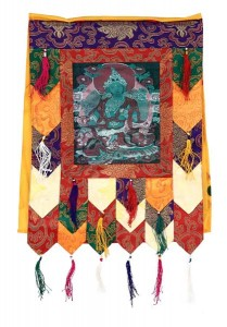 Stoff-Thangka, Grüne Tara, aufwendig