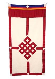 Tibetischer Türbehang, Endloser Knoten, Leinen, dunkelrot