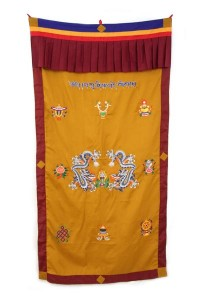 Tibetischer Türbehang, Drache, Om Mani, Eight Lucky Symbols, ocker