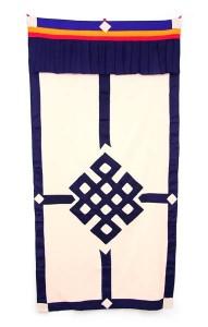 Tibetischer Türbehang, Endloser Knoten, Leinen, dunkelblau