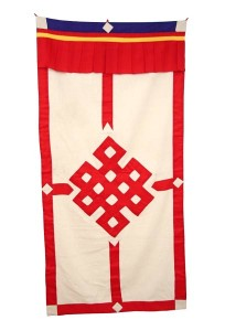 Tibetischer Türbehang, Endloser Knoten, Leinen, rot