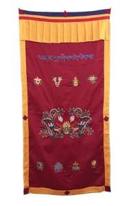 Tibetischer Türbehang, Drache, Om Mani, Eight Lucky Symbols, rot