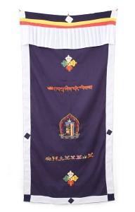 Tibetischer Türbehang, verschiedene Symbole, blau