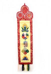 Wandbehang, verschiedene buddhistische Symbole, gelb