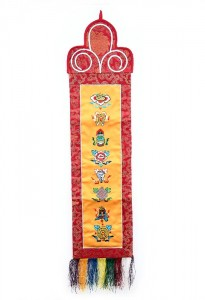 Eight Lucky Symbols Wandbehang, mittel, längs, orange