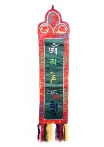 Om Mani Wandbehang, mittel, längs, grün
