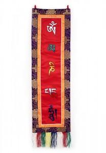 Om Mani Wandbehang, gross, längs, rot