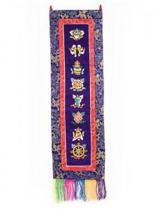 Eight Lucky Symbols Wandbehang, gross, längs, blau
