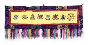 Eight Lucky Symbols Wandbehang, gross, quer, gelb