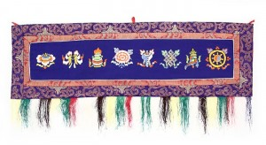 Eight Lucky Symbols Wandbehang, gross, quer, blau