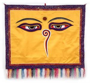"""Buddha Wandbehang, """"allsehende - beschützende Augen"""", orange, groß, ca. 107 X 98 cm"""