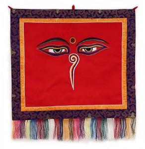"""Buddha Wandbehang, """"allsehende - beschützende Augen"""", rot 01, mittel, ca. 66 X 70 cm"""