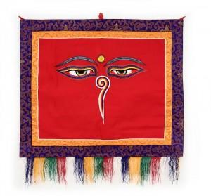 """Buddha Wandbehang, """"allsehende - beschützende Augen"""", rot 02, mittel, ca. 70 X 70 cm"""