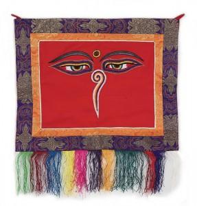"""Buddha Wandbehang, """"allsehende - beschützende Augen"""", rot, ca. 45 X 48 cm"""