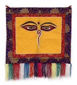"""Buddha Wandbehang, """"allsehende - beschützende Augen"""", orange, ca. 45 X 48 cm"""