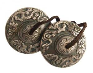 Zimbeln mit Drache aus Nepal, ca. 170 g.