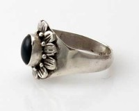 Ring Sterlingsilber (925) mit Onyx aus Nepal, Innendurchmesser 19,5 mm.