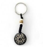 Schlüsselanhänger, Yak-Horn, Om Mani Padme Hum, Ying/Yang 02
